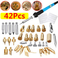 60W Electric Soldering Iron Welding Kit 42Pcs Wood Burning Pen Pyrography Tool