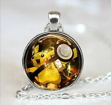Pokemon Rabbit photo Cabochon Glass Tibet Silver Chain Pendant Necklace Y34