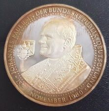 MÜNZE ECHT FEIN SILBER 999er PAPST JOHANNES PAUL II BESUCH 1980 DEUTSCHLAND