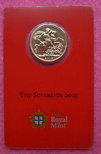 2014 - I ROYAL MINT INDIA FULL GOLD SOVEREIGN WITH MINT MARK IN CERTI-CARD