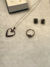 ".925 Sterling Silver Lot W/ 20"" Necklace W/ Pendant & Matching Ring & Earrings"
