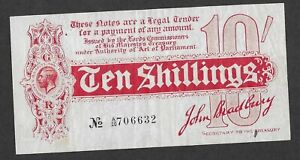 Bradbury FIRST ISSUE 10 Shillings Treasury Banknote T9 A/20 August 1914 Rare