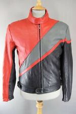 CLASSIC POLO BLACK, RED & GREY LEATHER BIKER JACKET 40 INCH/MEDIUM