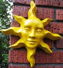 Yellow Sun Sculpture Original Handmade Artwork for Home and Garden Bright Enamel