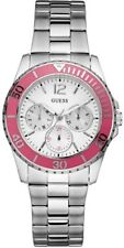 Guess Womens  Pink Bezel Silvertone Watch U10598L2