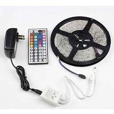 5M 300LEDs 3528 RGB  Multi-color LED Flash Strip Light 44key Remote 2A Power 12V