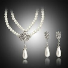 Party Bridal Pearl Pendant Crystal Wedding Jewelry Set Earrings Necklace Set