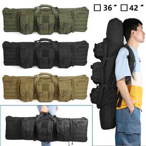"Heavy Duty Tactical Double Rifle Bag Gun Range Padded Soft Case Backpack 36"" 42"""