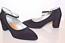 CHANEL Shoes Black Silk Satin Pumps sz 38 EUR Crystal Buckle Chanel Logo NEW!