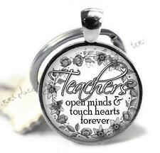 Teachers Quote Glass Top Key Chain Teaching Gift Touch Hearts Open Minds