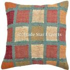 """Indian Hand Woven Kilim Jute Cushion Cover 18X18"""" Vintage Rug Throw Pillow Cases"""