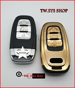 Key Case Cover for AUDI ☆Full Shell☆ A4,5,6,S5,S7,Q5 ☆ABS-Plastic☆ Keyless ☆GOLD