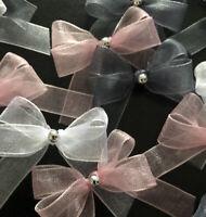 21 Small 3.5cm Blush Pink ,Grey &White Organza Ribbon Bows With Silver Pearl Gem