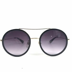 Pre Owned Gucci GG 0061S 001 Black Gold Round Frame Sunglasses 56/22/140