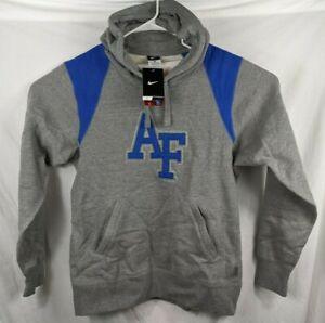 Nike Air Force Hoodie Men's Med Sweatshirt Gray w Blue Embroidery W Earbud Port