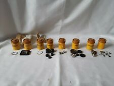 8 Vintage Kodak Film Canisters Full of Camera Parts Yellow w/ Brown Caps Lot 2