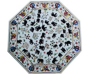 30 Inches Marble Coffee Table Top Inlay Patio Table Top with Elegant Nature Art