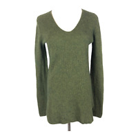 J. Crew Factory Size S Olive Green Knit V-Neck Sweater Cotton Merino Wool