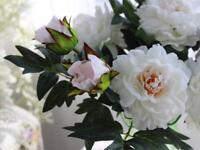 Bouquet Fleurs Artificielles Pivoine en Soie Decoration Maison Mariage Blanc