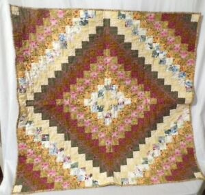 "Beautiful Homemade Quilt Flowers Leaves Quilt Size 35"" x 35"" Complete Classic"