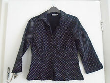 Vintage C&A Clockhouse Black & Pink Spotted 3/4 Sleeve Shirt / Blouse in Size 8