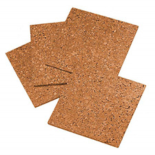"4 Pack Cork Tiles Board Corkboard Wall Bulletin Natural Self-Healing 12"" X 12"""