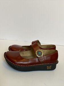 ALEGRIA Womens 37 (7-7.5) Paloma Chestnut Leather Mary Jane Shoes