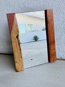 "Nakashima Style Free Edge American Craft Wall Mirror Sap Walnut 13"" x 16"""
