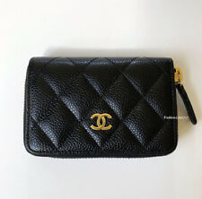 NIB CHANEL BLACK QUILTED CAVIAR LEATHER GOLD CC WALLET O-COIN PURSE
