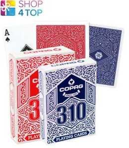 2 DECKS COPAG 310 POKER CARDS STANDARD INDEX LINEN B9 FINISH 1 BLUE 1 RED NEW