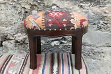 Ottoman Stool,Kilim Upholstery Stool,Kilim Stool,Foot stool,Kilim Foot Stool,