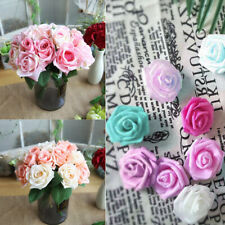50/100PC Roses Artificial Fake Flowers Heads Wedding Bouquet Party Home Décor