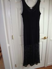 Robbie Bee Black Rayon/Spandex Hi-Low Knee Length/Lace Maxi Dress XL NEW