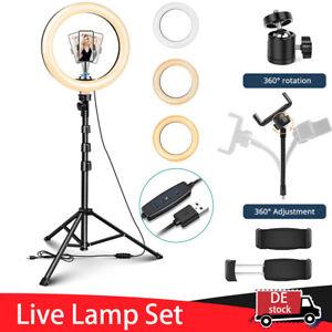 "10"" LED Ringlicht Fotografie Ringleuchte Lampe Handyhalter Kit Selfie mit Stativ"