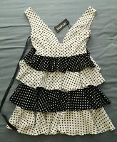 Boohoo Women's Black Polka Dot Ruffle Tiered Skater Dress Size 10 New With Tags