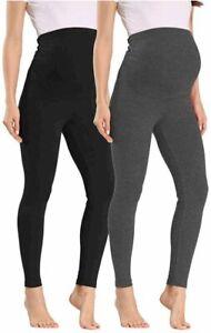 Vocni Women's Maternity Leggings Comfortable, A#-2pack Black-grey, Size Medium