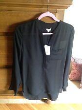 VINCE Split Neck Long Sleeve Blouse, NWT , sz.6 orig$295  All Silk