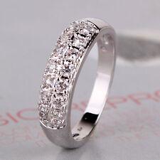 Eternity jewelry 18k white GF white topaz lady engagement ring Sz5-Sz9