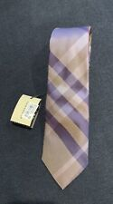 Burberry London Men's Purple/beige Check Tie NWT