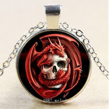 New Cabochon Glass Silver/Bronze/Black Pendant Necklace Red skull dragon