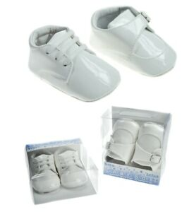 Baby Boys Patent White Spanish Style Romany Buckle or Lace Up Soft Pram Shoes