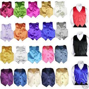23 color Satin Vest only Boys Teens Men Formal Party Graduation Tuxedo Suit S-7