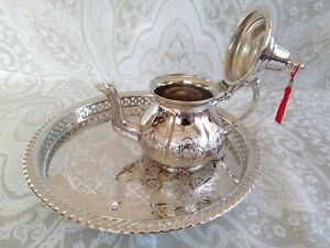 """Set of Silver Plated Moroccan Teapot 750 ml 7 Tea Cups and its matching tray 12"""""""