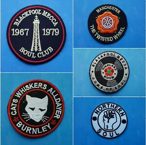 COLLECTION OF FIVE INDIVIDUAL SEW ON / IRON ON PATCHES:- NORTHERN SOUL SET B