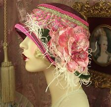 1920'S VINTAGE STYLE WINE & PINK GOLD EMBROIDERED FLOWER CLOCHE FLAPPER HAT
