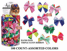 100 Hand-Tied PREMIUM TRIPLE SATIN RIBBON DOG HAIR BOWS w/Band Groomer Grooming