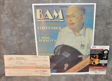 Leo Fender G&L 1986 Autographed Check Made To BAM w/ HP Photo JSA COA