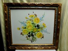 VTG 1970s Edward Yellow Rose Floral Still Life Flower Bouquet Oil Painting 30x26