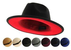 Bowery and Lennox Red Bottom Underbrim Two Tone Flat Brim Fedora Hat