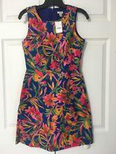 NWT J Crew Floral Pleated Shift Dress $118 Sz 0 Bright Blue Pink Green Yellow 30